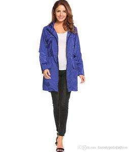 Kordelzug Kapuze elastische Taillen-Trench Coats Fashion Solid mit Reißverschluss und Taschen-Jacken Designer Frau Cloth