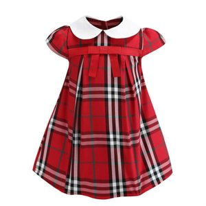 Hot Sell 3 Colors 2019 New Arrival Summer Girls Lapel Academy Wind Sleeveless Puckered Skirt High Quality Cotton Baby Kids Big Plaid Dress