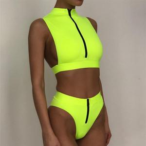 A vita alta Zipper brasiliano al neon del bikini Swimwear 2020 donne fascia costume da bagno femminile spinge verso l'alto costume da bagno estate Bagnanti Biquini