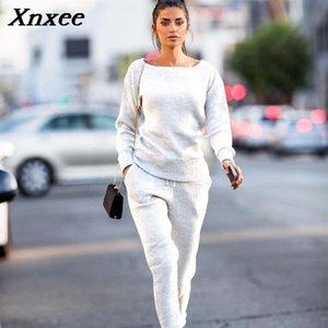 Xnxee neue Art und Weise Frauen-Herbst-Winter Strickanzug O Ansatz Strickjacke Frauen Two-Piece Set Xnxee stricke