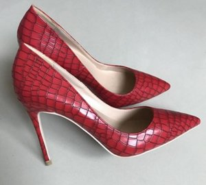 2019 new style red 파인 힐 커프 8 센치 메터 10 센치 메터 12 센치 메터 큰 code 34-45 women's-soled high-heeled shoes 얕은 입 Single shoes 웨딩 신부