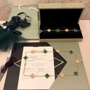 Collana di fascino dell'annata Alhambra S925 Sterling Silver turchese e cristallo 10 Four Leaf Clover Fiore ed i monili di 5 Trifogli Bracciale