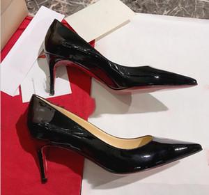 2019 Red Bottom Mulheres Apontou Toes de Salto Alto Moda Mulheres 2.5 cm 8 cm 10 cm Bombas de Couro Preto Wedding Party Dress Shoes 35-40