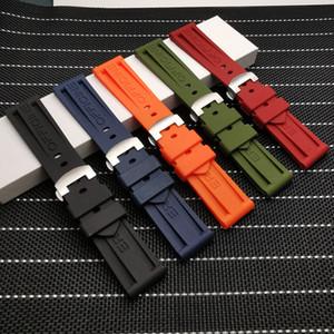 24mm Natur weichen Silikon-Gummi-Armband passt für Panerai-Bügel-Tools Faltschließe für PAM111 / 441 Riemen Werkzeuge