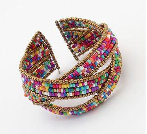 5 couleurs 2016 Ethnic Perles de Bohême Bangles large Wristband Cuff Ouvert Multilayer Perles Croix Bracelets Bangles femmes Pulseira