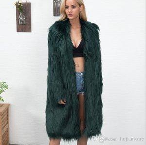 Abrigos de pieles del invierno de las mujeres sólidos de moda de vestir exteriores para mujer de moda con paneles suelta Escudo de lujo Faux de las mujeres
