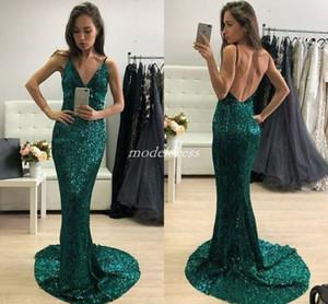 Reflective Hunter Green Sirena Vestidos de noche 2019 Spaghetti Backless Sweep Train Sequined Formal Prom Party Vestidos Vestido para ocasiones especiales