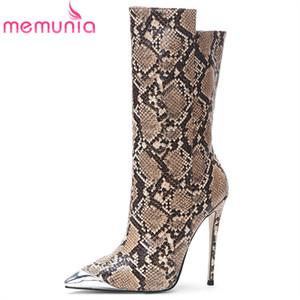 MEMUNIA 2020 neue Art und Weise Knöchel Stiefel Frauen Schlange Metallzehe Herbst Winterstiefel dünne hohe Absätze Parteihochzeitsschuh Frau