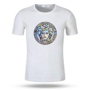 Versace mens treino designer de roupas de verão O pescoço dos homens da forma T-shirt impressão Hip Hop t-shirt de algodão dos homens da juventude T-shirt