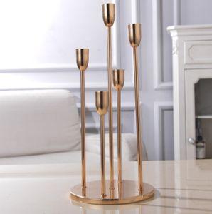 nuovi lattest pezzi alti candelabri d'oro del centro di nozze 9 braccio con lunghe mentale uragani titolare senyu0338