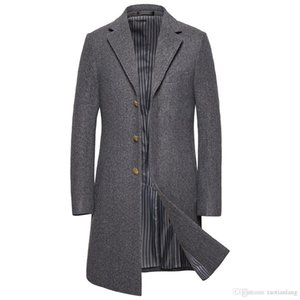 2019 Medium Long Jackets Men's Casual Thicken Woolen Trench Coat Business Coats Winter Male Solid Color Slim Fit Overcoat J1906176