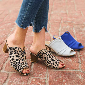 European sexy leopard flock tassel sandals women chunky wood med high heels flip flops peep toe pleated sandalias big size 35-42