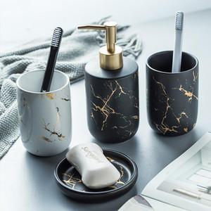 Imitazione ceramica marmo Set accessori da bagno di lavaggio Strumenti Bottiglia collutorio Coppa Sapone Spazzolino articoli Holder domestici
