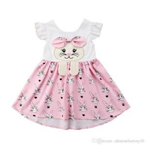 Pâques Bébé Filles Lapin Imprimer Robes Manches Volantes Bande Dessinée Infantile Bunny Combinaisons 2019 Summer Fashion Boutique Enfants Vêtements