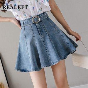 REALEFT Été 2020 New Blue Denim Sexy Mini jupes taille haute Jupettes Umbrella Jeans Jupes Femmes Cowboy élégant