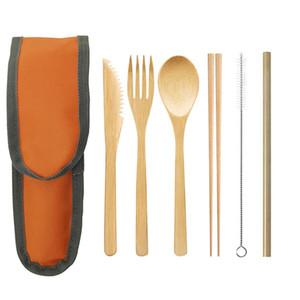 Bamboo conjuntos de talheres faca garfo colher kit de bambu palha piquenique ao ar livre eco friendly tableware ZZA1954 portátil