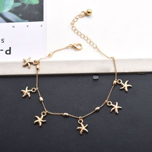 S1029 Fashion Hot Starfish Cadena Colgante Pulsera Charms Ankle Jewely Tobletle Stars Anklet NXRMS