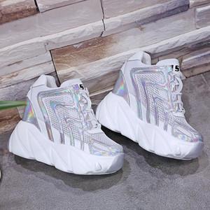 Vendita calda-Donne aumentante di altezza pompe 10 cm di spessore soli pattini scarpe da tennis bianche