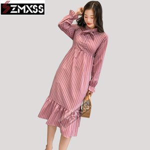 SZMXSS 2018 New Loose Striped Dress Super Fairy First Love Dress Vintage Cover Belly Chiffon Long Sleeve Striped Dress Female MX200518