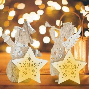 Weihnachtsschnee-Mann / Angel / Elk-Dekor-Flitter-LED-Licht leuchtende Weihnachtsbaum Ornamente TP899