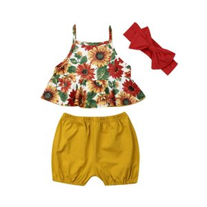 Toddler Baby Girls Clothes Sunflower Outfit Summer Clothes Ruffle Tank Top+Yellow Shorts Pants Set with Headband 0-24 Months