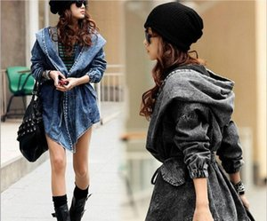 Denim Trench Coat For Women Autumn Loose Long Coat WomentDouble-Breasted Loose Jeans Trench Windbreaker Manteau Femme