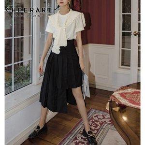 CHEERART Asymmetrische Sommer-Schwarz-hohe Taillen-Rock-Frauen 2020 Sommer-Art und Weise lange Midi-Rock-beiläufiger Korean Fashion Style