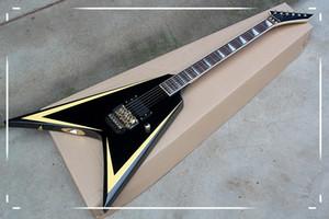 Высокого качество Специальных V Формы тело Золотого Оборудование тремоло гитара электрическая с палисандровой накладкой, стопорная гайка