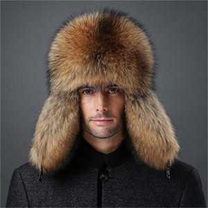 Mens real Fox Fur and couro real Quente Hat Russian Ushanka Inverno Aviator Trapper Bomber Ski Cap Earmuffs