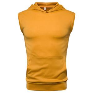 Erkekler Kolsuz Hoodie Yaz Vücut Yelek Spor Egzersiz Katı Yumuşak Casual Kapşonlu Tees Erkek Giyim Spor Tops