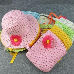 20sets 귀여운 해바라기 꽃 어린이 키즈 소녀 캐주얼 해변 일 밀짚 모자 캡 + 짚 토트 핸드백 가방 세트 2-8 년 아이에 맞는 복장