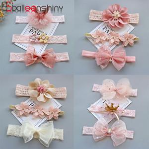 Doccia Regali Lace Hairband del bambino BalleenShiny 3pcs nuove neonate di modo della fascia dei bambini Crown Princess Bow Cappelli Per i bambini