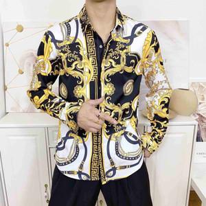 newest Europe fashion Wave of men 3D Floral Print casual shirt Slim Fit Business Silk Shirt Long sleeve male Medusa Shirts M-3XL