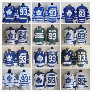 Retro Maple Leafs de Toronto 93 Doug Gilmour hockey chandails Vintage classique 75e anniversaire Doug Gilmour Maillots Cousu Bleu Blanc C Patch