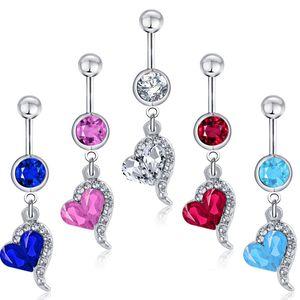 D0144-4 (4 colores) mezclar el estilo del corazón del color del anillo del botón de vientre anillo de los anillos del ombligo perforación del cuerpo joyería cuelgan los accesorios de la manera del encanto 10PCS