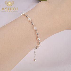 ASHIQI natürlicher Frischwasserperlenarmband 925 Sterling Silber Perlenschmuck für Frauen