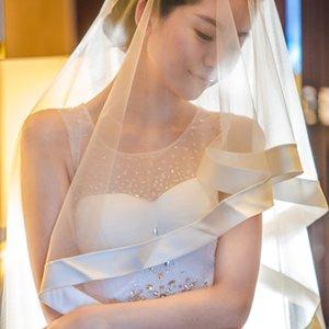 New High Fashion Designer Qualité élégant ruban bord blanc Noir d'Ivoire hanche Longueur deux couches peigne de mariage Veil en alliage Meidingqianna Marque
