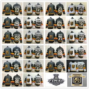 Vegas oro Knights maglie hockey 29 Marc-Andre Fleury 71 William Karlsson 61 Mark Stone 67 Max Pacioretty 75 Ryan Reaves 17 Vegas Strong
