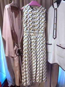 High End Horseshoe chaîne longue impression femmes robe Designer manches Plis Logo Vestidos De Festa-66 yy