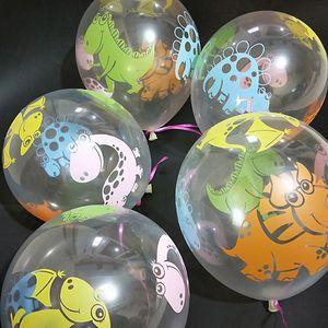 Free DHL 1Lot=100Pcs Transparent Printed Cartoon Dinosaur Balloon Birthday Wedding Decorations Balloons Party Decoration Round Matte Balloon