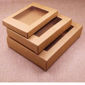 Kraftpapier Geschenk-Box-Paket mit klaren PVC-Fenster 50pcs