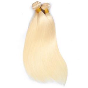 Cheveux brésiliens Bundles Bundles Blonde au miel avec fermeture de lacet Remy couleur de cheveux humains 613 Bundles avec frontal