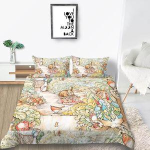 Yastık kılıfı ile Çocuk Klasik Nevresim Kraliçe Karikatür Sevimli Kral İkiz Tam Çift Kişilik Yatak Örtüsü için Peter Rabbit Yatak Seti