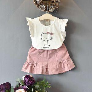 детская дизайнерская одежда для девочек летняя одежда из хлопка мультяшный котик футболка и шорты одежда для девочек средних и маленьких размеров