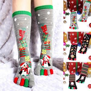 Natale UniSec Stampa multicolore Toe Socks Five Finger calze di cotone divertente