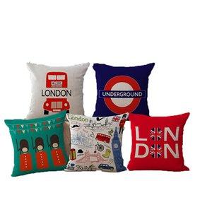 Londra Stili Dekoratif Yastık Kılıfı İngiliz Asker Londra Otobüs Sevimli Karikatür Yastık Kapak İçin Koltuk Ev Funda Cojines atın