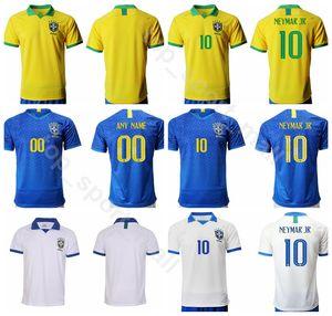 19 20 Uomo Calcio Brasile 10 Maglia NEYMAR JR Brasil 9 JESUS 11 COUTINHO 12 MARCELO 2 Maglia da calcio SILVA Kit uniforme