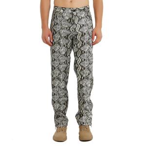 Para hombre de la serpiente PU pantalones de cuero atractivos de la personalidad Pantalones Streetwear Moda Pantalones de cuero de imitación club nocturno Etapa bailarín Pantalones