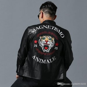 Mens Brand Designer Jackets Casual Winter Luxury Tiger Head Embroidery Cool Locomotive Coat Motorcycle Biker Faux Leather Jacket Size M-3XL