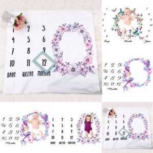 El bebé recién nacido suaves del algodón Mantas bebés de la impresión floral Milestone manta Mat apoyo de la fotografía Crecimiento mensual de fotos